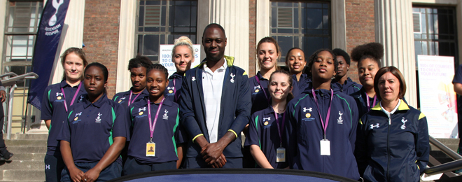 Footballer King meets students earning their 'Spurs'