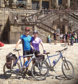 Westerman with husband Martin after cycling the Camino de Santiago in Spain in 2013