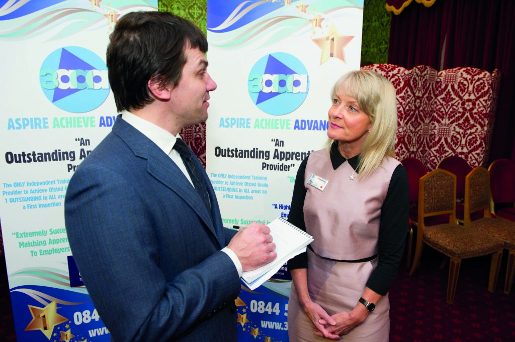 FE Week reporter Paul Offord interviews 3aaa owner Di McEvoy-Robinson