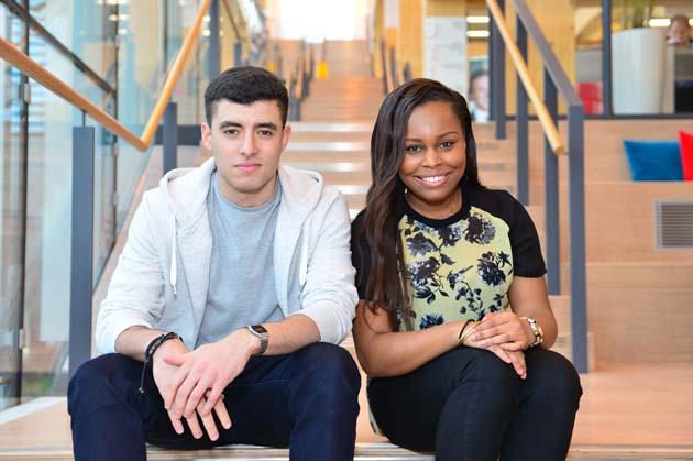 Sky apprentices Chafik Yahiaoui, aged 22, and Priscilla Ossai, 21