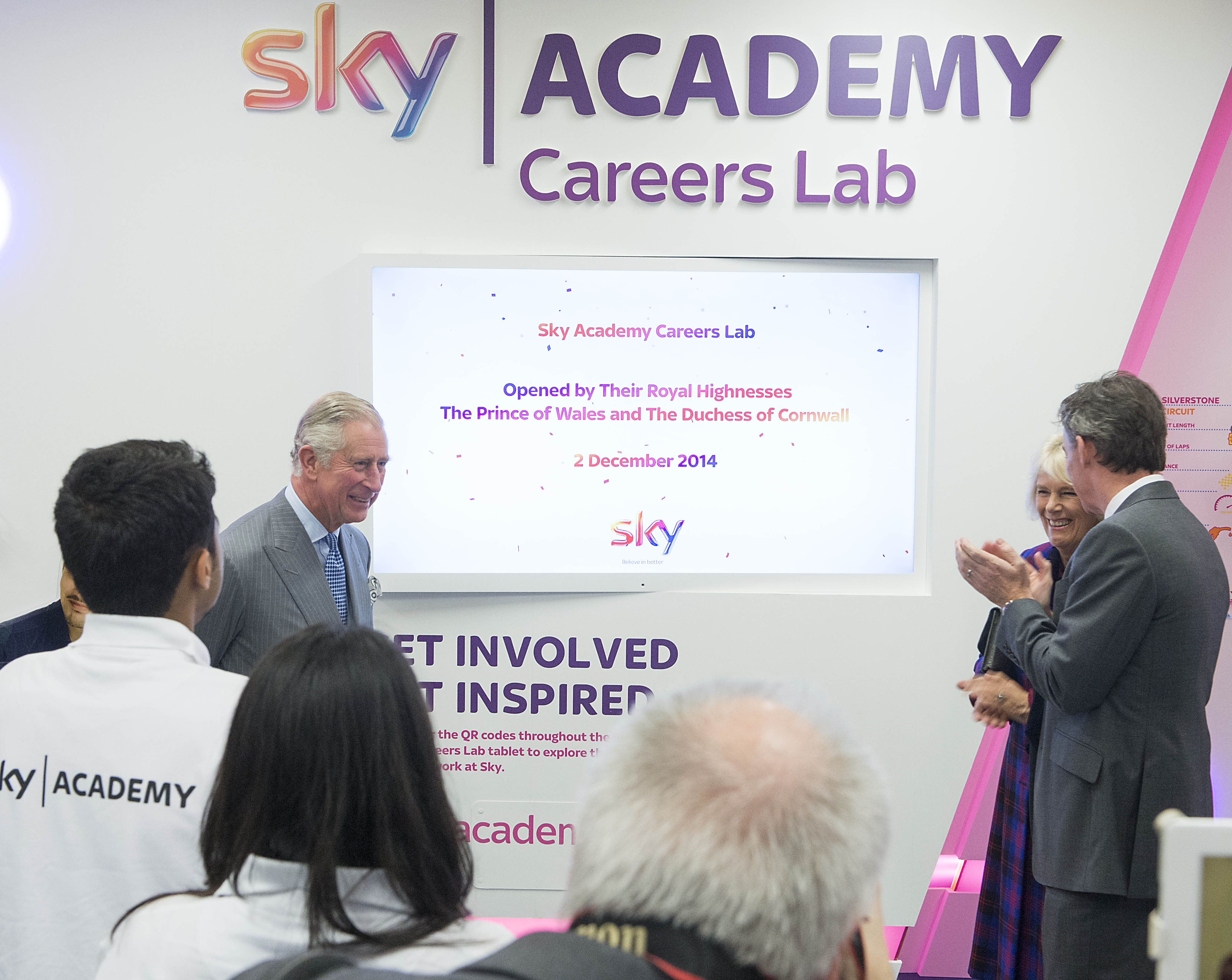 The Prince of Wales and the Duchess of Cornwall opening the Sky Lab