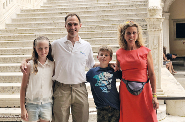 From left: Haze's, daughter Kat, husband Colin, son Alex and Haze at Doge's Palace in Venice