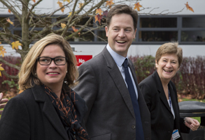 From left: Lib Dem parliamentary candidate for Taunton Deane Rachel Gilmour, Nick Clegg and Somerset College principal Rachel Davies
