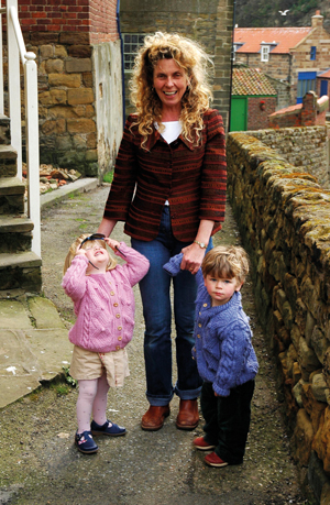 Haze in her Yorkshire village Staithes with Kat and Alex, both aged two.