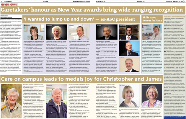 Caretakers' honour as New Year awards bring wide-ranging FE and skills recognition