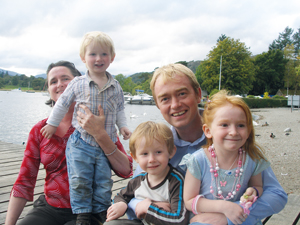 From left: Farron's wife Rosie, sons Jude and Laurie, Farron and daughter Grace.