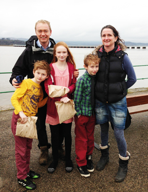 From left: Farron's son Jude, Farron, daughter Grace, son Laurie and wife Rosie