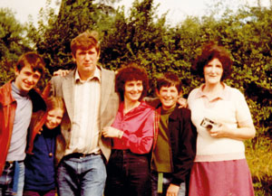 From left: Duprez's brother Ian, Duprez aged 11, father Robert, mother Carmel, brother Steve and grandmother Maggie in Ireland