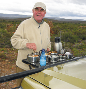 Sallis cooking on safari in South Africa