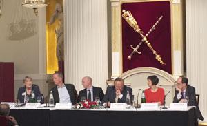 From left: Sal Brinton, Nick Boles, Liam Byrne, Andrew Neil, Frances O'Grady, John Cridland.