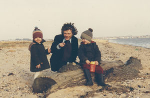 Grainger on a beach holiday with daughter Maud (left) and son Harry