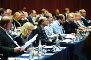 Delegates listening to speakers