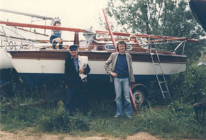 Grainger (centre right) with the family boat, Bronte Gold, and, from left, Harry, Ken and Maud