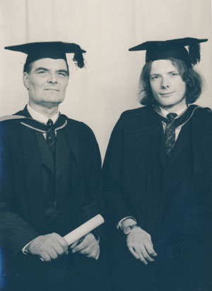 Grainger on his university graduation day with dad Ken
