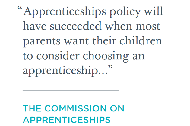 Apprenticeships commission puts colleges forward as solution to schools' vocational offer for 'all' 14 to 16-year-olds