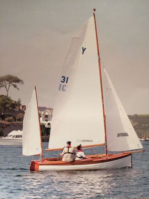 Bennion sailing at Salcombe, in Devon, with his son Matthew in 2004
