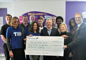 SCCB handover a cheque of £32,099 to Teenage Cancer Trust including former Aston Villa footballer Steve Staunton (third from the left) and SCCB principal Mike Hopkins (far right).