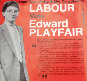 Playfair's campaign poster when he ran for Parliament in 1993