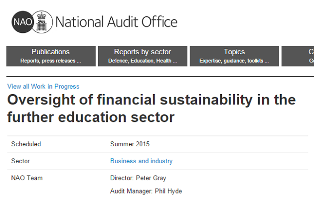 Audit office FE finances probe should examine 24pc cut plans, say college leaders