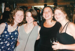 From Left: Aldridge's university friends Clare Gough, Cath Page, Aldridge and Eleanor Bowskill