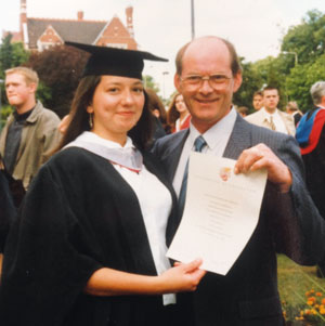 Aldridge with father Geoff graduating from Leicester University in 1996