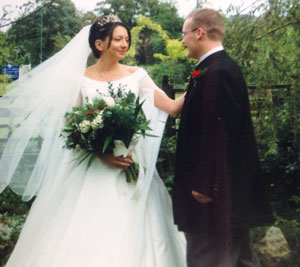 Aldridge and husband Ian on their wedding day in 1999