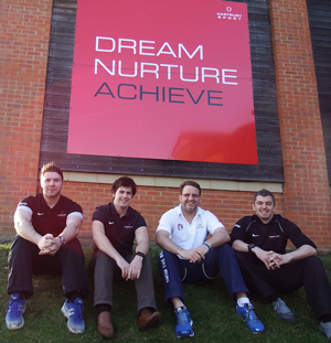 From left: Ben Drury, Richard Collins, Ben Hooper and Tom Cresswell at the training facilities at Hartpury College