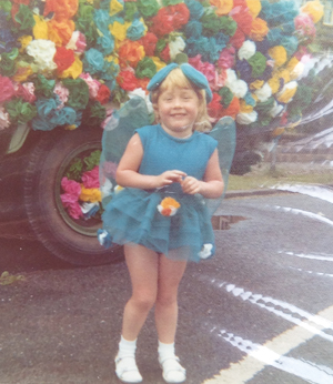 Parrett in fancy dress as a flower fairy in 1974