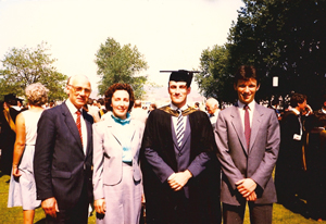 From left: Farrar's father Ron, mother Doreen, Farrar and his younger brother Peter at his graduation from Swansea University in 1983.