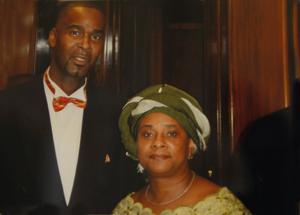 Gordon with Baroness Doreen Lawrence, receiving the 2002 Stephen Lawrence Award for Education