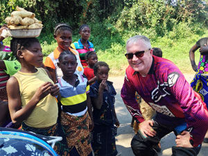 David Byrne with Zambian children
