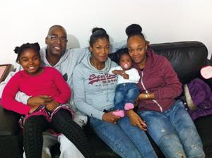 Gordon's granddaughter Sarai, 10, Gordon with daughter Iman, 25, granddaughter Tianna, 2 and daughter Naeemah
