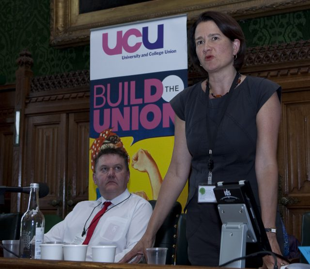 Catherine West MP for Hornsey and Wood Green and (left) Rob Goodfellow, UCU president-elect