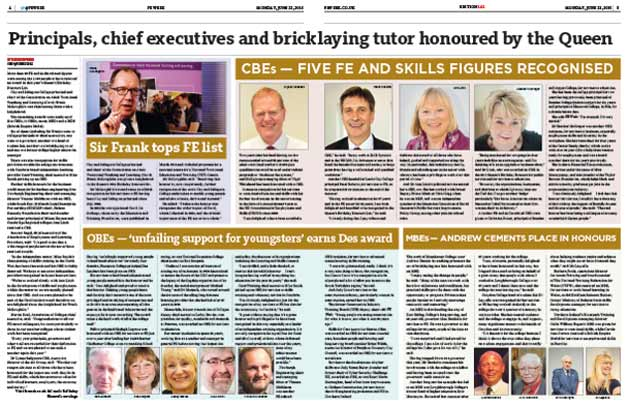 Principals, chief executives and bricklaying tutor honoured by the Queen