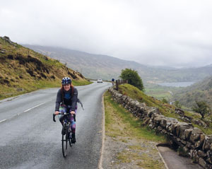 Harriet Hicks powering through the 377 mile cycle