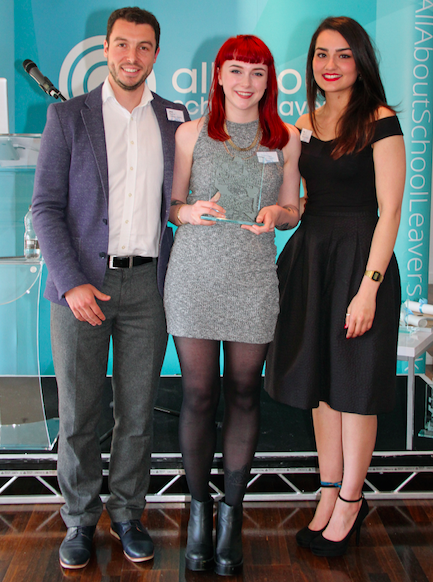 Jack Denton, co-founder of AllAboutGroup, with school or college leaver of the year Honeybea Youngman and Ezgi Bulbul, account executive at AllAboutGroup