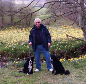 Lord Willis with his dogs Molly and Murphy saved from pound in Ireland 14 years ago