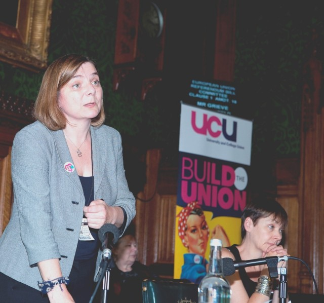 Sally Hunt, UCU general secretary and right) Caroline Lucas MP, Brighton Pavilion