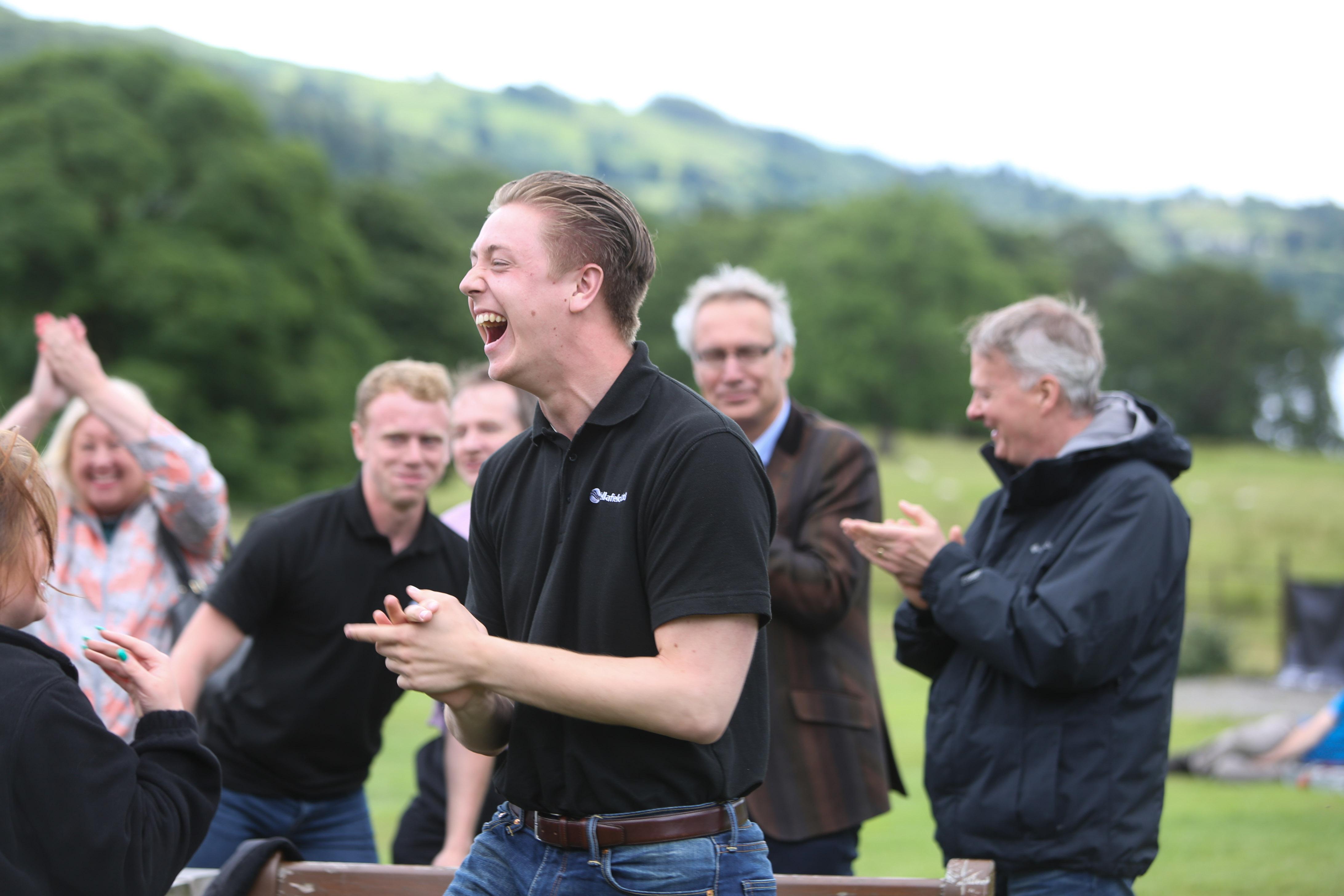 A Sellafield team member celebrates victory
