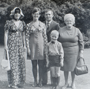 From left: Eeles's Auntie Pam, mother Joan, father Ken, Eeles, aged six and his nan Winifred