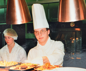 Eeles training as chef at Walsall college aged 16 in 1983