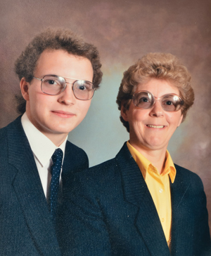 Eeles aged 18 with his mother Joan in 1985