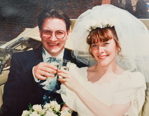 Eeles marrying wife Sharon in August 1995