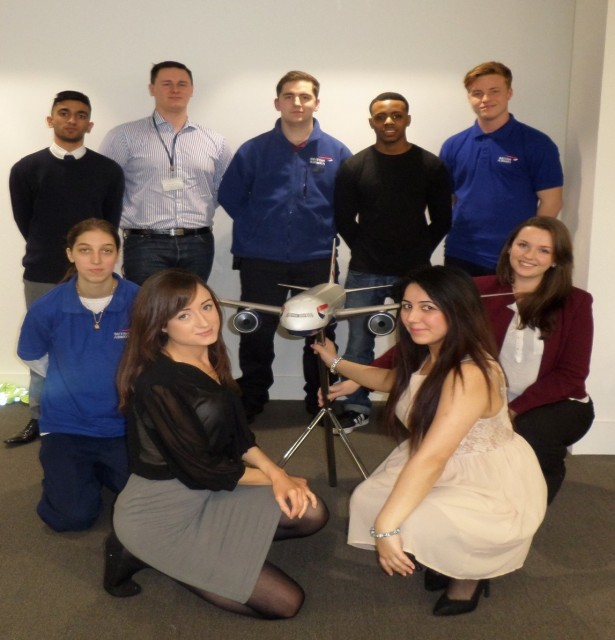 British Airways apprentices. Back, from left: Sukhdeep Mohain, aged 19,  IT apprentice, Samuel Austin, 21, cargo, Jordan Taylor, 22, engineering, Rickael Green, 19, cargo, and Aaron Taylor, 20, Heathrow operations Front, from left:Natalie Hewitt, 18, Heathrow operations, Samantha Kent, 21, people services, Jaspreet Gurdev, 23, and Katie McMonagle, 22, both finance services