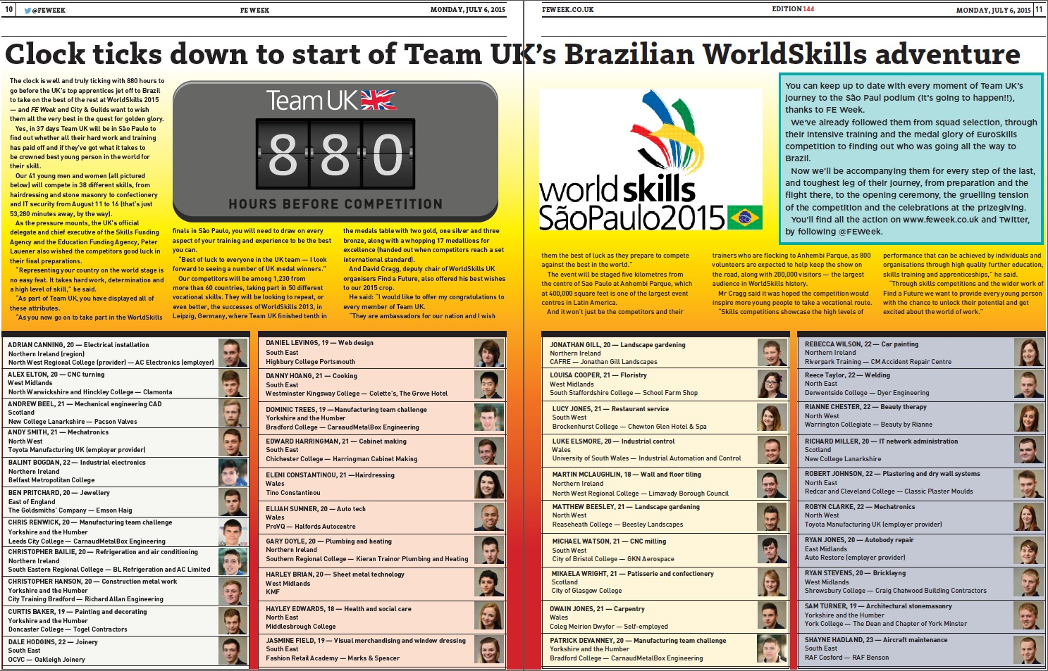 WorldSkills Spread July 2105