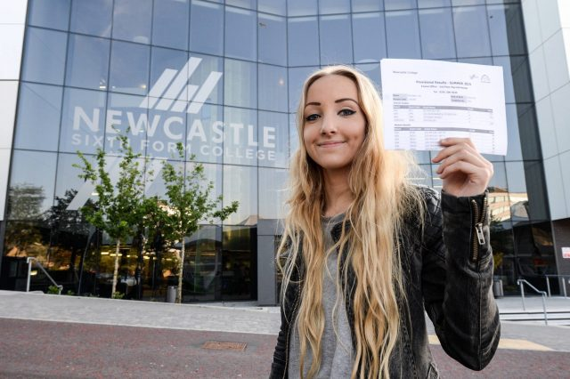 Date: 13/08/2015 Students pick up their A Level results at Newcastle Sixth Form College this morning (THURS) Pictured is Lois Flounders, 18, who got 2 A* and 2 A results  #NorthNewsAndPictures/2daymedia