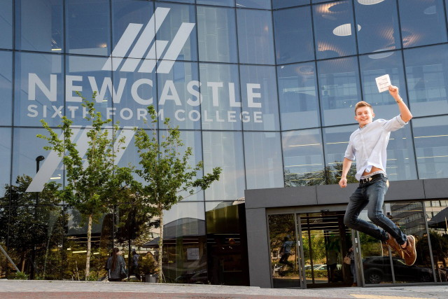 Date: 13/08/2015 Students pick up their A Level results at Newcastle Sixth Form College today (THURS). Pictured is Nathan Furness, 18, (C, C, C) who is on his way to The Sage Gateshead to start an apprenticeship #NorthNewsAndPictures/2daymedia