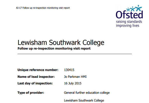 Ofsted monitoring visit finds 'reasonable' level of improvement for learners at  Lewisham Southwark College