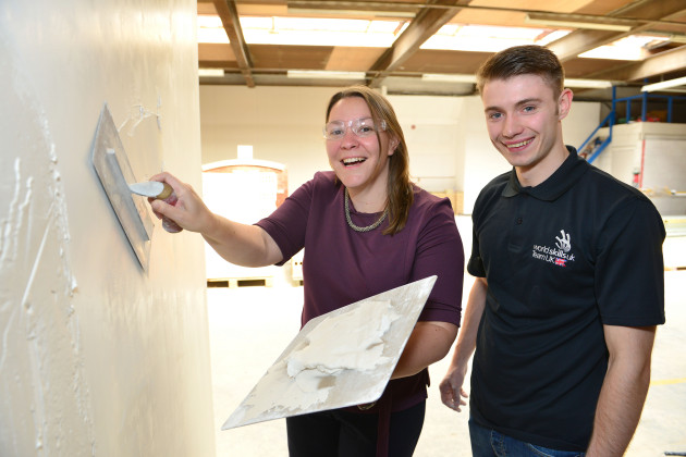 Plastering and dry wall systems competitor Robert Johnson meets with Redcar MP Anna Turley