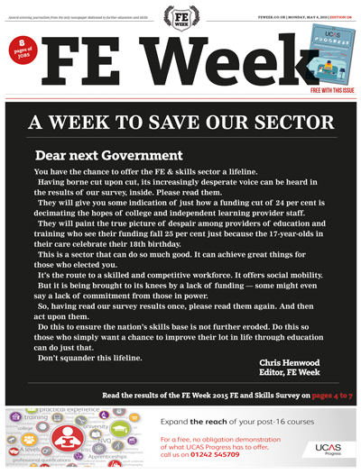 Left and right: FE Week coverage of the 2015 survey, on May 4 (edition 136)